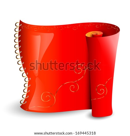 The red scroll with golden pattern on the spring. You can use it as a banner for information, label or as an element  for your design