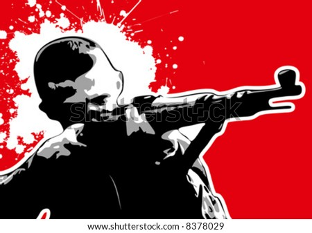 The Red series: grungy vector sniper - stock vector