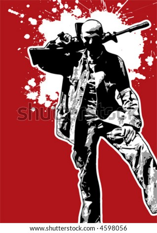 The Red Series No. 13: Grungy vector soldier - stock vector