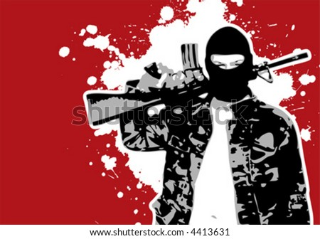 The Red Series No. 11: Grungy Vector terrorist with gun - stock vector