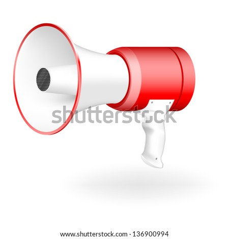 the red-white megaphone. vector illustration - stock vector