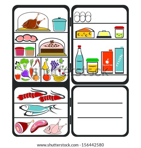 The refrigerator with food on a white background. Colorful composition. - stock vector
