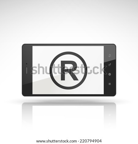 the registered trademark symbol on mobile phone isolated on white  - stock vector
