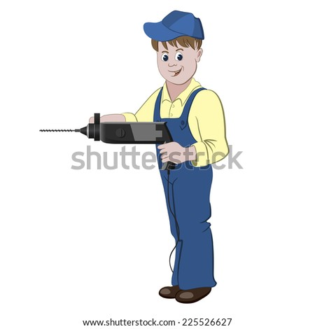 The repairman or handyman standing with a perforator or drill