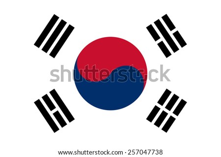 The Republic of Korea also known as South Korea official flag in both color and proportions, also known as the Taegeukgi - stock vector