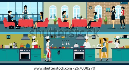 Restaurant Kitchen Illustration restaurant has dining room kitchen stock vector 267038270