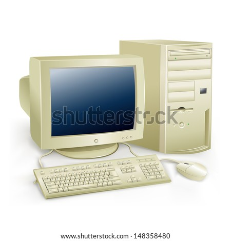 The retro desktop white computer with monitor, keyboard and mouse on the white background - stock vector