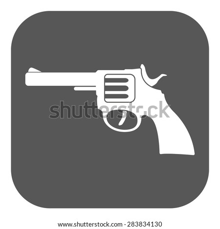 The revolver icon. Gun and weapon symbol. Flat Vector illustration. Button - stock vector
