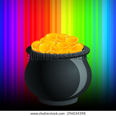 The Reward: Shiny Pot of Golden Coins - stock vector