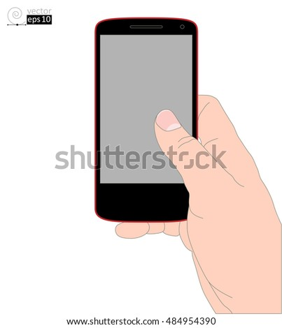 the right hand with a mobile phone on a white background. vector realistic drawing. flat coloring contour