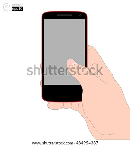 the right hand with a mobile phone. vector realistic drawing. flat coloring contour