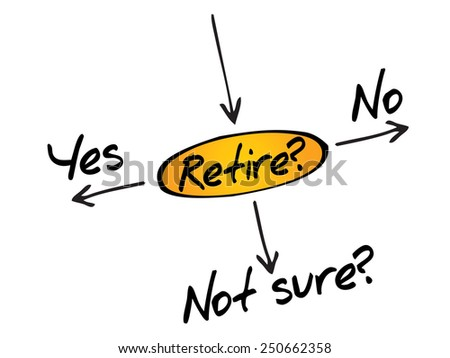 The risk to take the retirement, decide diagram business concept - stock vector