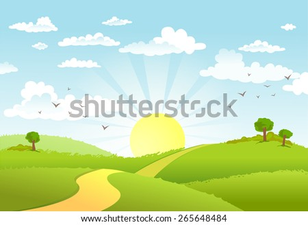 The road in green fields,  leading for the sun on the horizon - stock vector