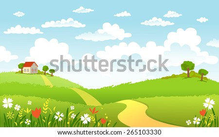 The road in green fields leading to the lovely house - stock vector