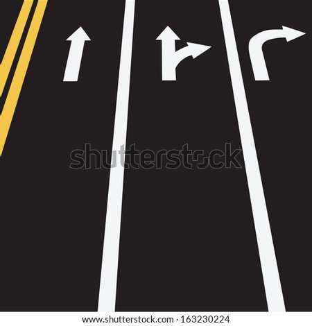 The road markings in three lines and double yellow. Vector illustration. - stock vector