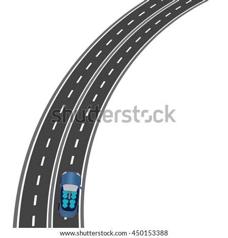 The road, the highway perspective. The car on the road. Vector illustration