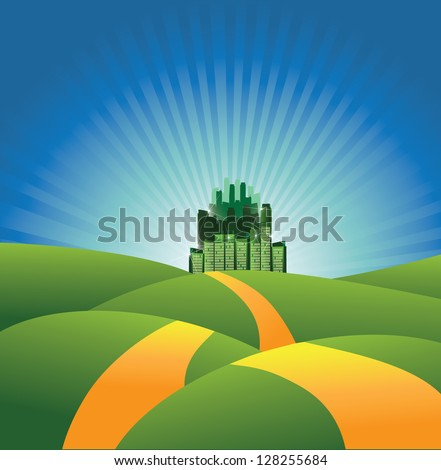 The road to the Emerald City. EPS 8 vector, grouped for easy editing. No open shapes or paths. - stock vector