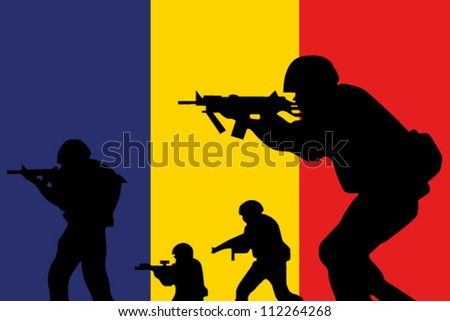 The Romanian flag and the silhouette of soldiers