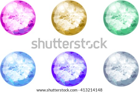 The round shaped crystal icons