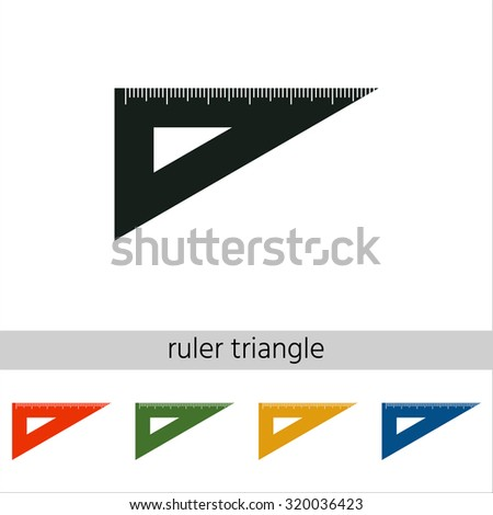 The ruler triangle icon. Set of varicolored icons.