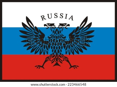 The Russian two-headed eagle against a flag - stock vector