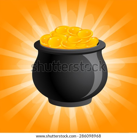 The sacred pot of gold shinning - Symbol for reward and service rendered - stock vector