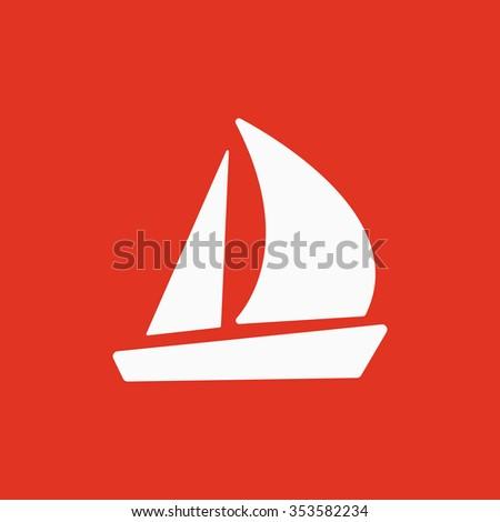 The sailboat icon. Sailing ship symbol. Flat Vector illustration - stock vector