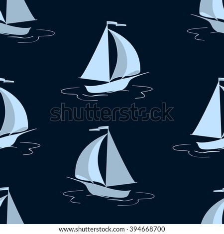 The sailing yacht. Seamless background. Marine and underwater themes.