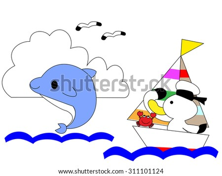 The sailor introduces itself to a dolphin