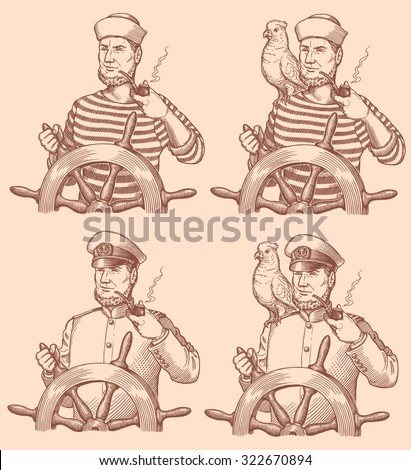 The sailor with the helm and a parrot. Design set. Hand drawn engraving. Vector vintage illustration. 8 EPS - stock vector