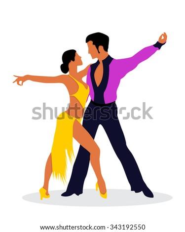 The Salsa dancers - stock vector