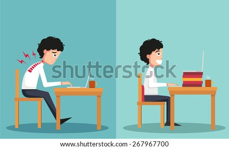 The sample of the guy sitting in wrong and right ways - stock vector
