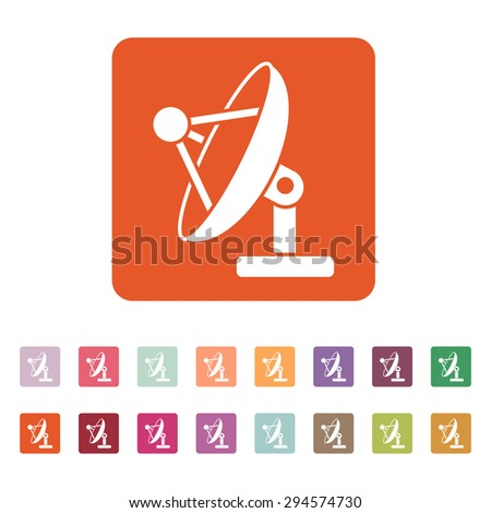 The satellite antenna icon. Communicate and broadcast, telecommunications symbol. Flat Vector illustration. Button Set - stock vector