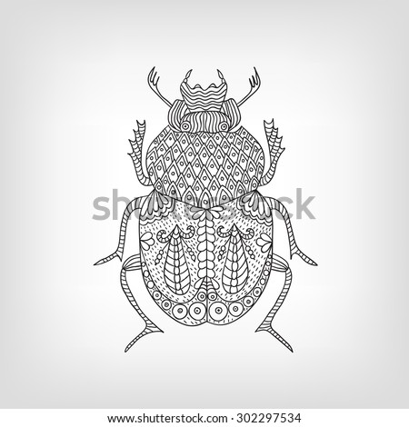 The scarab beetle on a light background. - stock vector