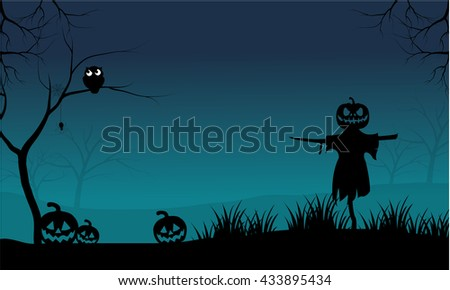 The Scarecrow and Pumpkins Halloween scary at the night