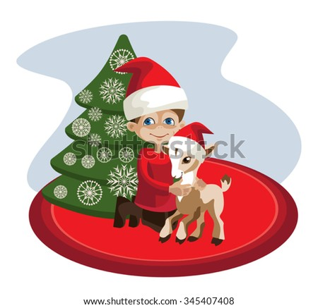 The scene at the Christmas tree: toddler 
