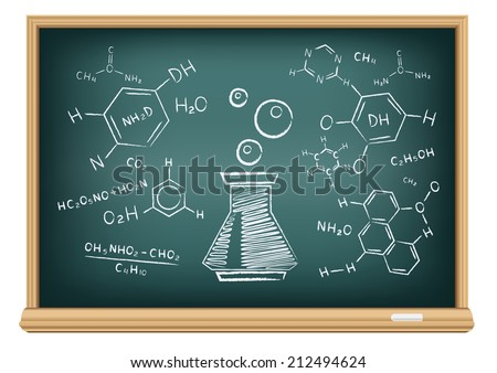 The school blackboard and chalk drawn chemical tube and formula - stock vector