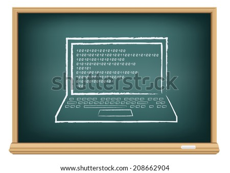 The school blackboard and chalk written laptop and code on screen - stock vector