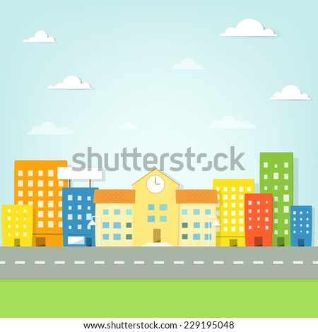 the school building in the colorful city - stock vector