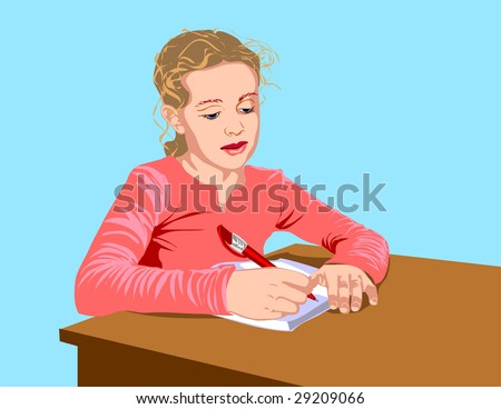 The schoolgirl writes to writing-books, the written task carries out