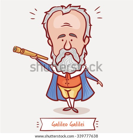 The scientist, physicist, astronomer Galileo Galilei with a telescope  in a blue jacket - stock vector