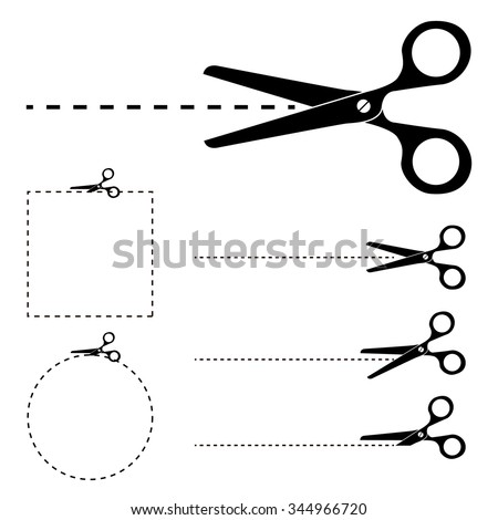 """The scissors icon. Cut here symbol. Scissors and dotted line. Flat Vector illustration. Cut Here Scissors. Silhouettes of Vector scissors with """"Cut Here"""" dashed lines. - stock vector"""