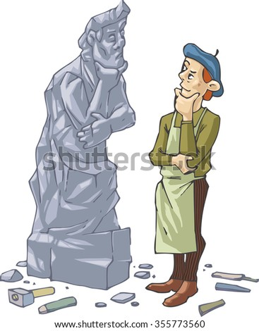 The sculptor is thinking  about something  in front of his self portrait made in stone.