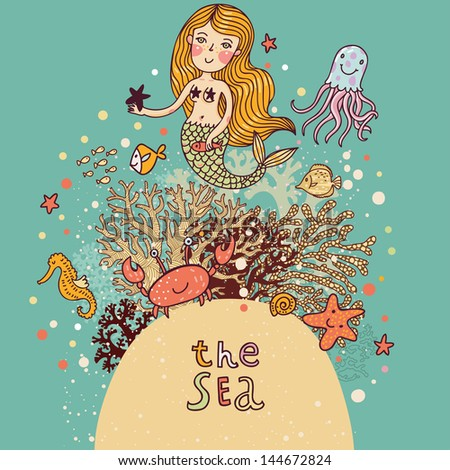The sea � bright cartoon card with mermaid, octopus, fishes, crab and sea horse near coral. Childish illustration in vector - stock vector