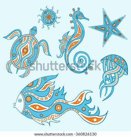 The sea collection  which represent jellyfish, fish, turtle, starfish, sea urchin, sea horse. Graphic design elements. Set of ocean animals. - stock vector