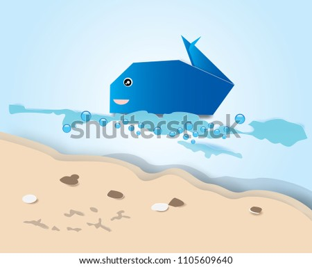 The Sea With Origami Blue Whale And Beach