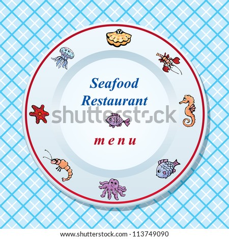 The seafood restaurant menu design - dish on checked tablecloth background - stock vector