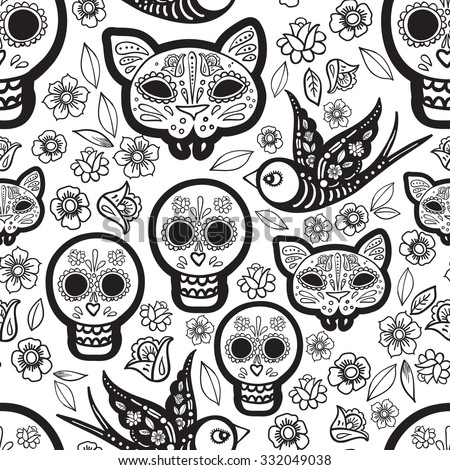 The seamless of Day of the Dead, a traditional holiday in Mexico. Skulls,  ribbons,  for Coloring for adults - stock vector