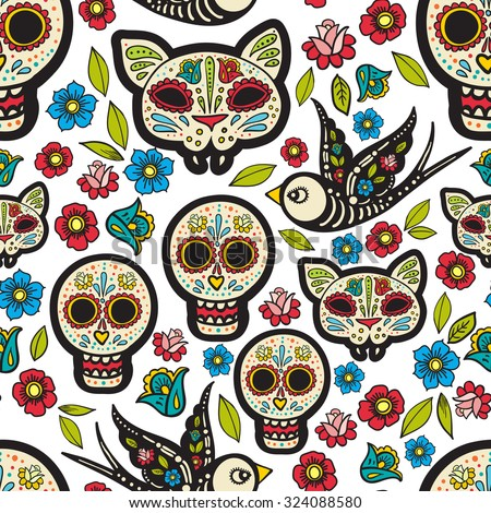 The seamless of Day of the Dead, a traditional holiday in Mexico. Skulls,  ribbons,  for design, t-shirt,cloth - stock vector