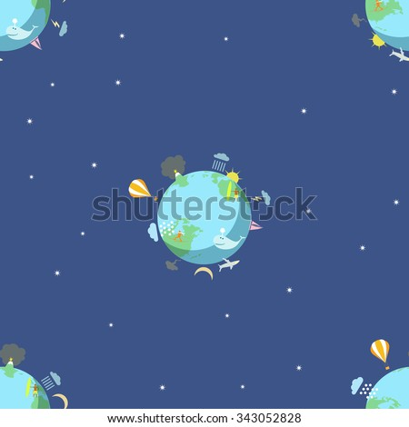 The seamless pattern with the Earth on the blue background